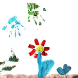 Flower, child illustration. Kid's watercolor painting of a flower Stock Photos