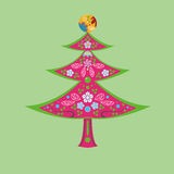 Flower and Christmas tree Stock Photography