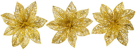 Flower Christmas Tree Decoration, Gold Glossy Ornament Set Stock Photography