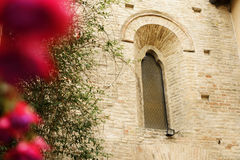 Flower with church in background Royalty Free Stock Photo
