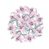 Flower circle bouquet from gentle lilac lily Stock Image