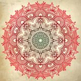 Flower circle design on grunge background with Royalty Free Stock Photos