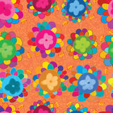 Flower circle draw petal bee seamless pattern Stock Images