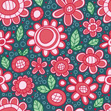 Flower circle drawing seamless pattern Royalty Free Stock Images