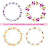 Flower circle frame set with brush pattern vector Royalty Free Stock Photo