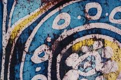 Flower in circle, hot batik, background texture, handmade on silk, surrealism art stock images
