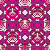 Flower circle line pink purple diamand shape seamless pattern. This illustration is design and drawing flower circle line with pink and purple colors decoration Royalty Free Stock Photo