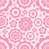 Flower circle line seamless pattern vector illustration