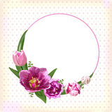 Flower circle round wreath coronet flowers pink purple Tulips. Fern leaves beautiful lovely spring summer bouquet vector illustration. Top view square elegant Royalty Free Stock Photo
