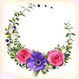 Flower circle round wreath coronet flowers pink Rose purple Anem. One poppy leaves beautiful lovely spring summer bouquet vector illustration. Top view square Royalty Free Stock Photos