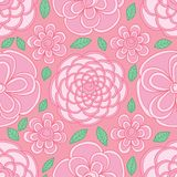 Flower circle shape visible pastel pink color seamless pattern. This illustration is design flower abstract circle shape visible in pastel pink color background vector illustration