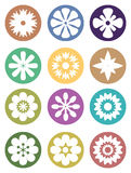 Flower in Circle Vector Icon Set Stock Photo