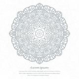 Flower circular background. Mandala. Stylized lace ornament. Indian floral ornament. Beautiful lacy white tablecloth, doily. Royalty Free Stock Images