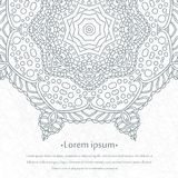 Flower circular background. Mandala. Stylized lace ornament. Indian floral ornament. Beautiful lacy white tablecloth, doily. Stock Photo