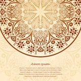 Flower circular background. A stylized drawing. Mandala. Stylized lace ornament. Indian floral ornament. Stock Photos