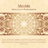 Flower circular background. A stylized drawing. Mandala. Stylized lace ornament. Indian floral ornament. Stock Photo