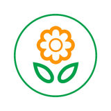 Flower circular line icon. Round sign. Flat style vector symbol. Flower circular line icon. Round sign. Flat style vector symbol stock illustration