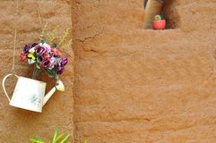 Flower On Clay Wall stock images