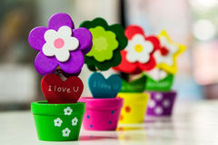 Flower Clip in Vase. Colorful wood flowers with clip in  vase Stock Image