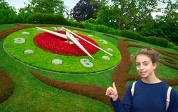 Flower clock garden in Geneve tourist girl Geneva. Switzerland Swiss Stock Photos
