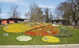 Flower Clock in Geneva. Stock Photos