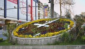 Flower clock on Kızılay square in Ankara. Turkey Stock Photos
