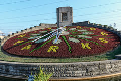 Flower clock in Niagara Falls, Ontario Canada Stock Images