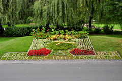 Flower clock in Podebrady Stock Image