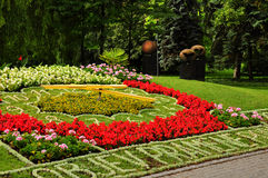 Flower clock in Podebrady Royalty Free Stock Photo