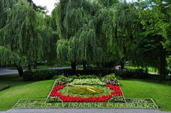 Flower clock in Podebrady Stock Images