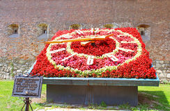 Flower clock under the wall of the Bernardine monastery Lviv, Ukraine royalty free stock image