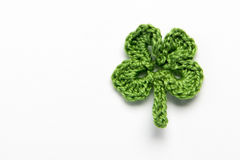 Flower and clover leaf made of yarn Stock Photo