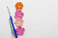 Flower and clover leaf made of yarn Royalty Free Stock Images