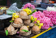 Flower and coconuts in India Royalty Free Stock Photo