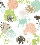 Flower Collection Background. Neutral colored background illustration of flowers Stock Photography