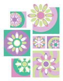 Flower Collection_Retro. Six fresh floral designs in retro colors useful for logos or icons Stock Images