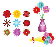 Flower collection set, flower bouquet, Vector Royalty Free Stock Images