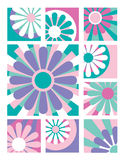 Flower Collection_Sweet. Six fresh floral designs in vibrant colors useful for logos or icons Royalty Free Stock Images