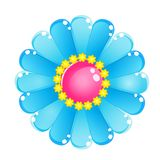Flower Color Blue Sky Glossy Jelly Icon. Stock Images