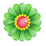 Flower color green glossy jelly icon. Royalty Free Stock Image