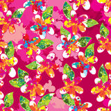 Flower color mix pink vertical seamless pattern Royalty Free Stock Images