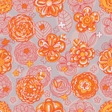 Flower color orange line seamless pattern Royalty Free Stock Photos