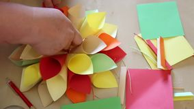 Flower colored paper handmade stock video footage