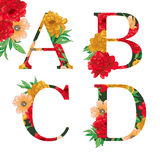Flower colorful alphabet. Royalty Free Stock Image