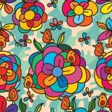 Flower colorful bird stylish seamless pattern Stock Image