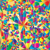 Flower colorful diamond shape seamless pattern Stock Photos