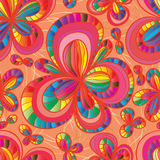 Flower colorful line tiny gold seamless pattern Stock Image