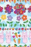 Flower colorful style rabbit horizontal seamless pattern Stock Photography