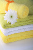 Flower and colorful towels Stock Photography