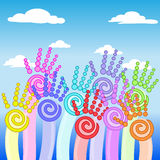 Flower colorful up hands. Warm colorful up hands background Royalty Free Stock Photos